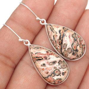 Natural Birds Eye Jasper Gemstone Earrings 925 SS